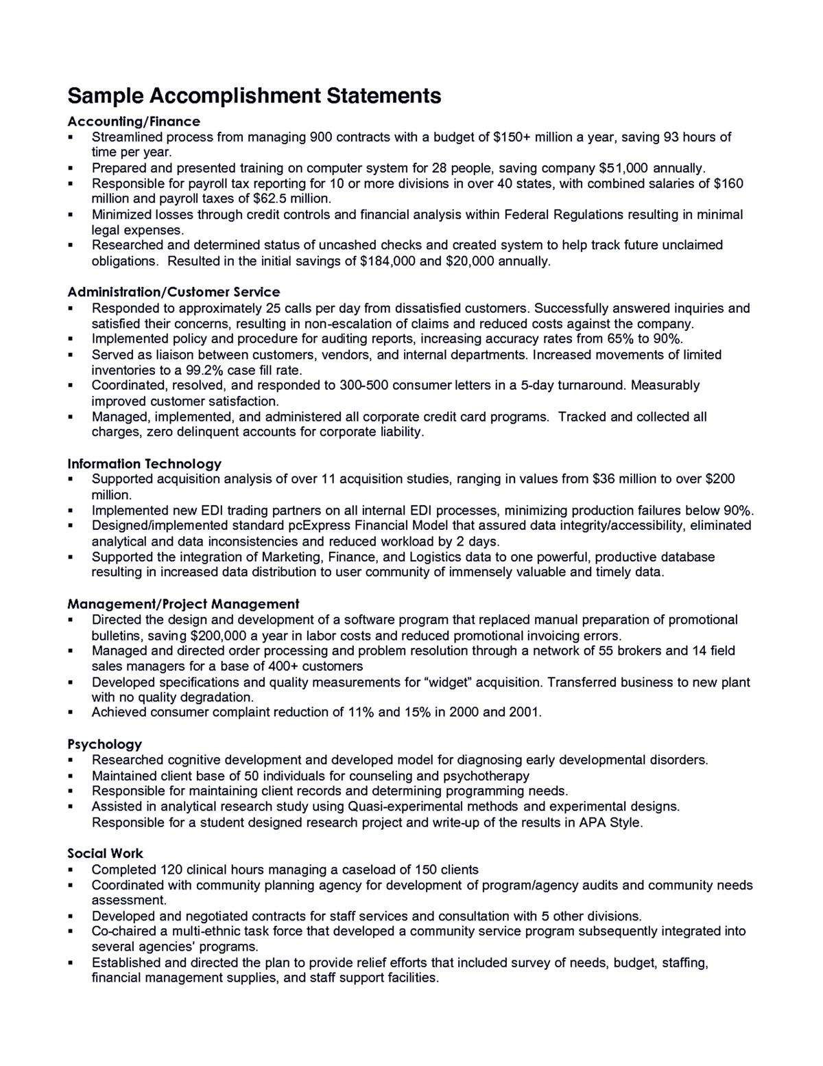 accomplishments resume are indeed important part of any resumes you make from the Resume Accomplishments For Resume