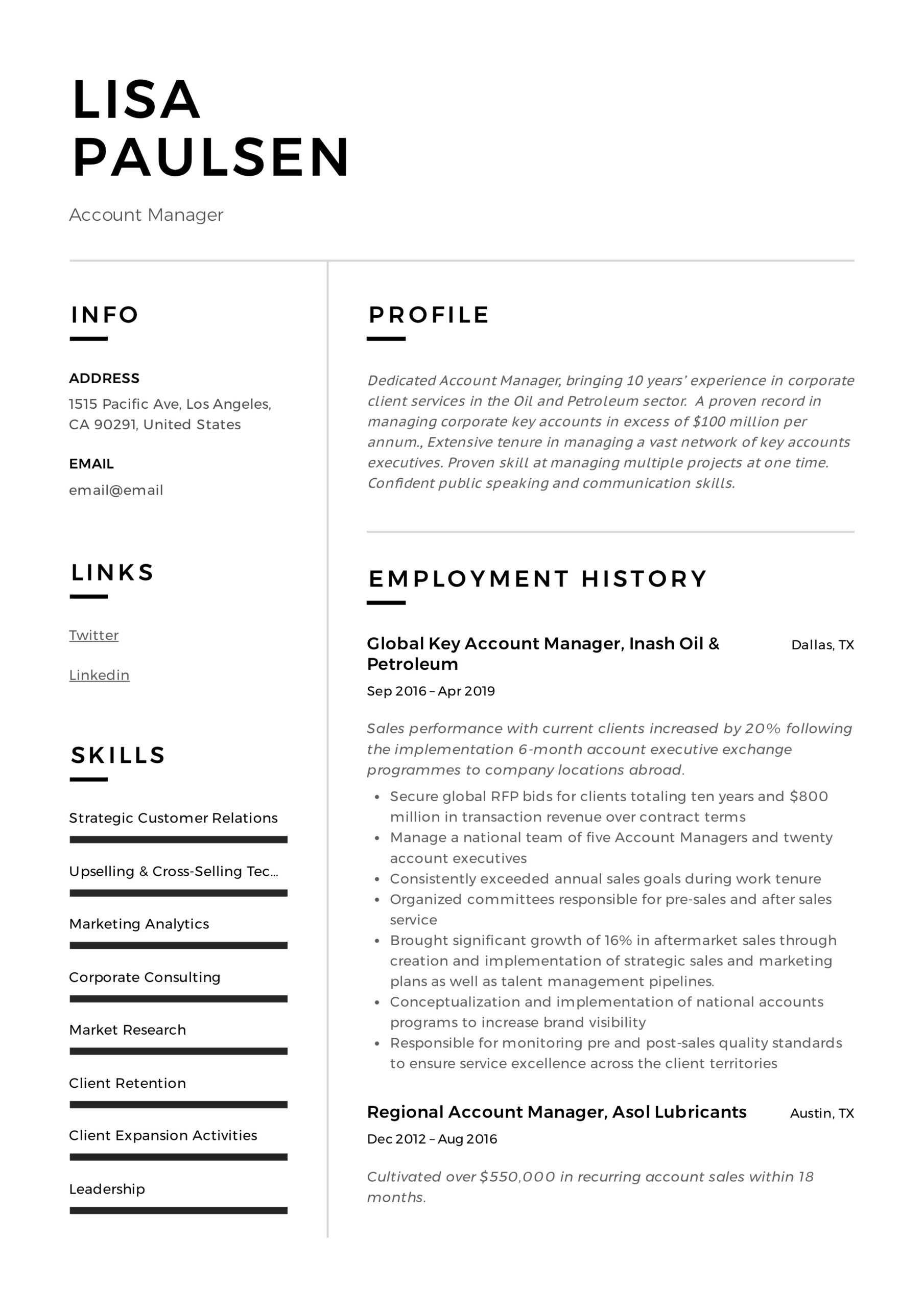 account manager resume writing guide examples responsibilities lisa paulsen funeral home Resume Account Manager Responsibilities Resume