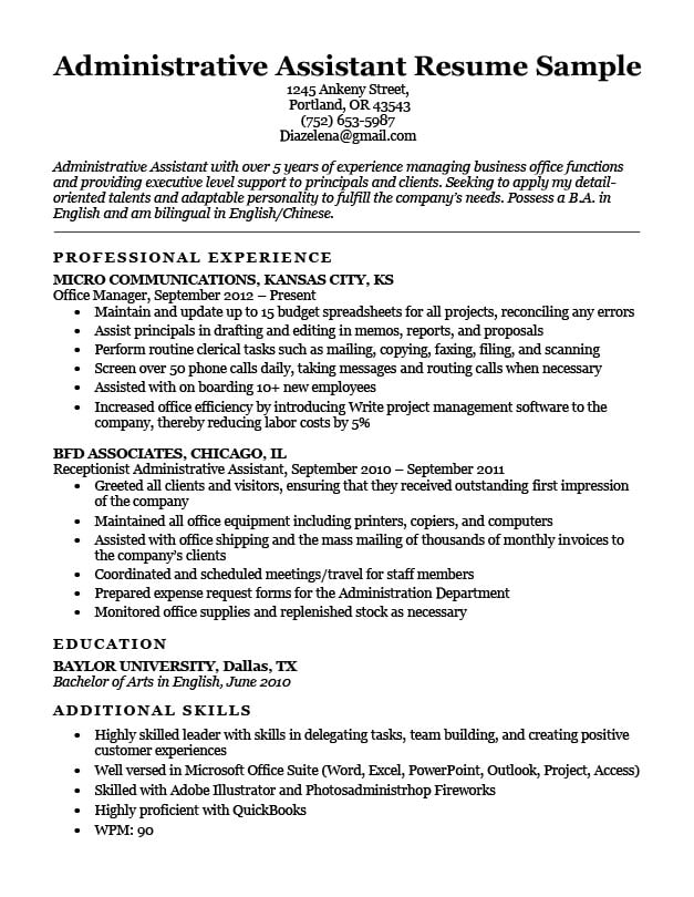 administrative assistant resume example writing tips resumeperk of summary on for sample Resume Example Of Summary On Resume For Administrative Assistant