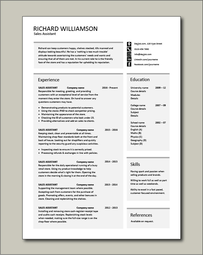 assistant cv example shop store resume retail curriculum vitae jobs checkout operator Resume Checkout Operator Duties Resume