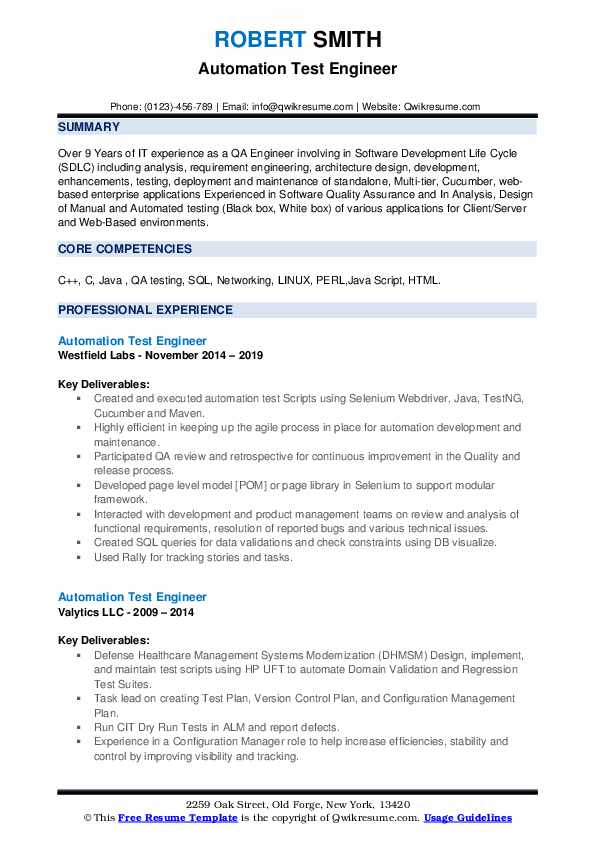 automation test engineer resume samples qwikresume selenium testing for years experience Resume Selenium Automation Testing Resume For 5 Years Experience