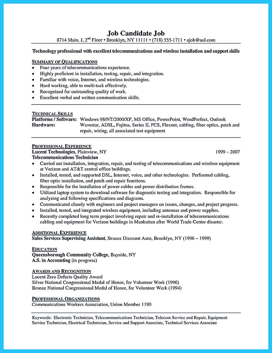 awesome to make cable technician resume that is really perfect check more at http snefci Resume Telecommunications Resume Keywords