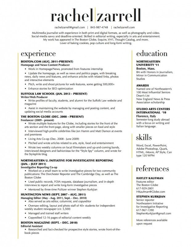 beautiful resume layout two column no reference section like to keep that separate Resume Resume Template With Reference Section