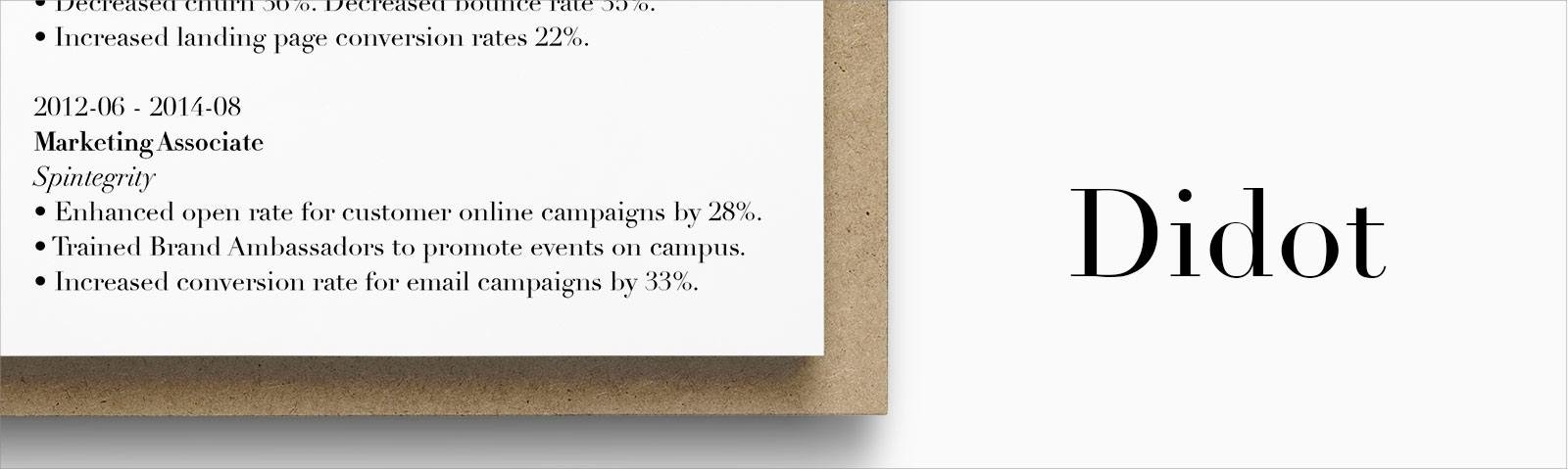 best font for resume size standard professional pairings most common didot textile Resume Most Common Resume Font