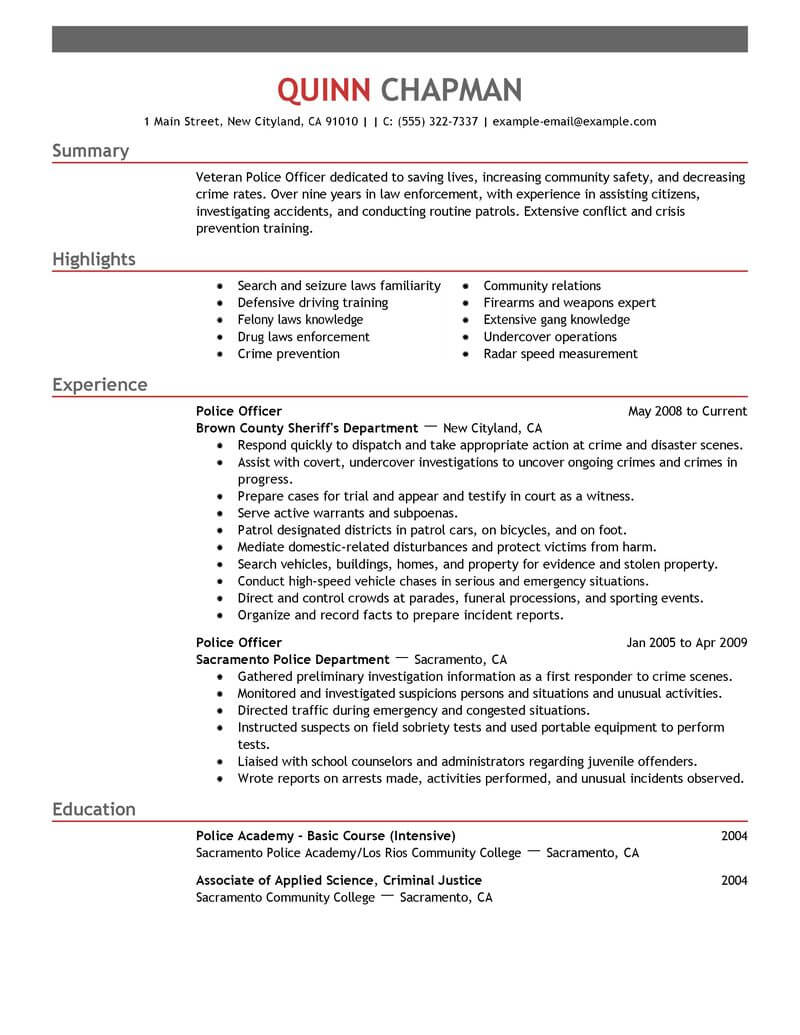 best police officer resume example livecareer examples emergency services emphasis crew Resume Police Officer Resume Examples