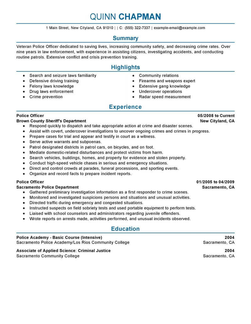 best police officer resume example livecareer examples emergency services professional Resume Police Officer Resume Examples