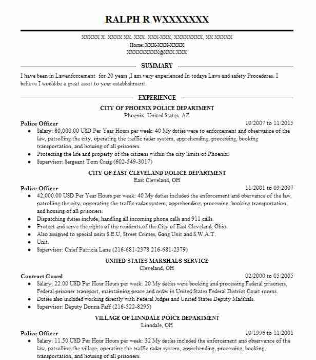 best police officer resume example livecareer examples objective for customer service Resume Police Officer Resume Examples