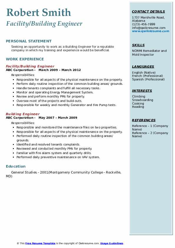 building engineer resume samples qwikresume management system pdf examples for teenager Resume Building Management System Resume