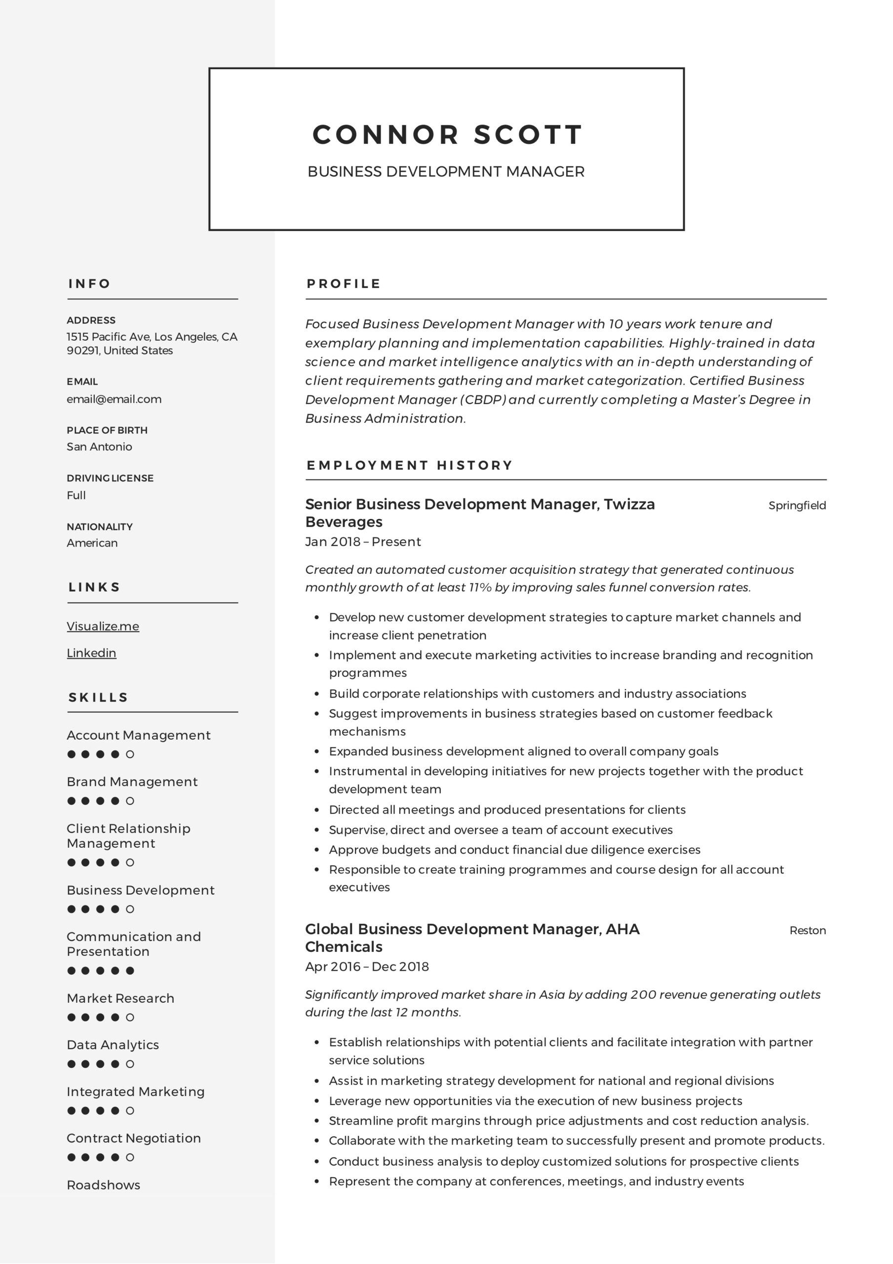 business development manager resume guide templates pdf executive skills latex template Resume Business Development Executive Skills Resume
