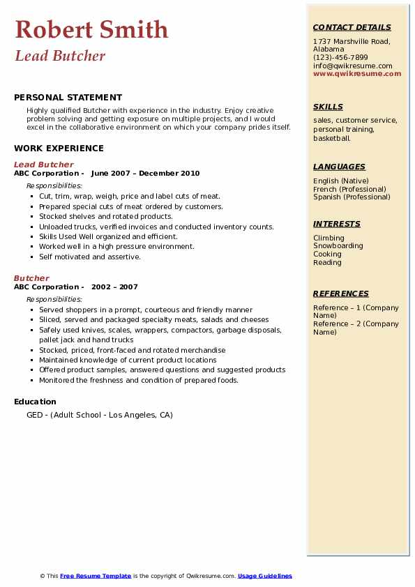 butcher resume samples qwikresume meat cutter pdf electrician foreman body content Resume Butcher Meat Cutter Resume