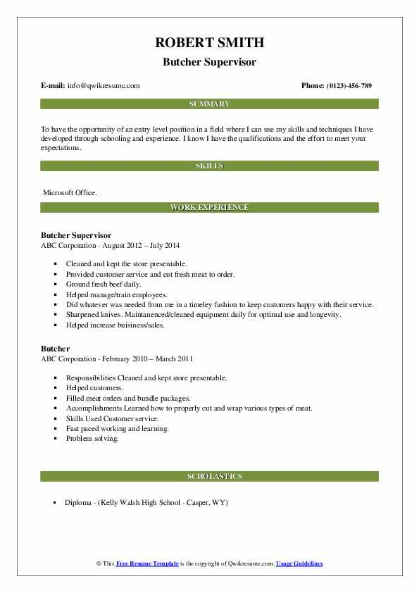 butcher resume samples qwikresume meat cutter pdf free blank printable forms body content Resume Butcher Meat Cutter Resume