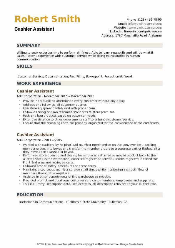 cashier assistant resume samples qwikresume checkout operator duties pdf soccer coach Resume Checkout Operator Duties Resume