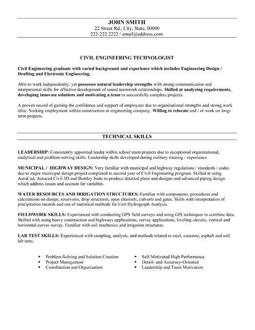 click here to this civil engineering technologist resume template http re engineer Resume Civil Engineering Technologist Resume Sample