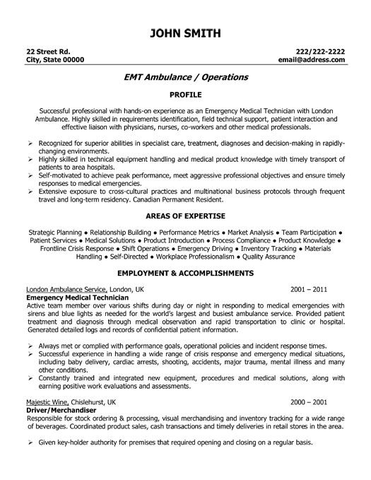 click here to this emergency medical technician resume template http resumetemp assistant Resume Non Emergency Medical Transportation Driver Resume Sample