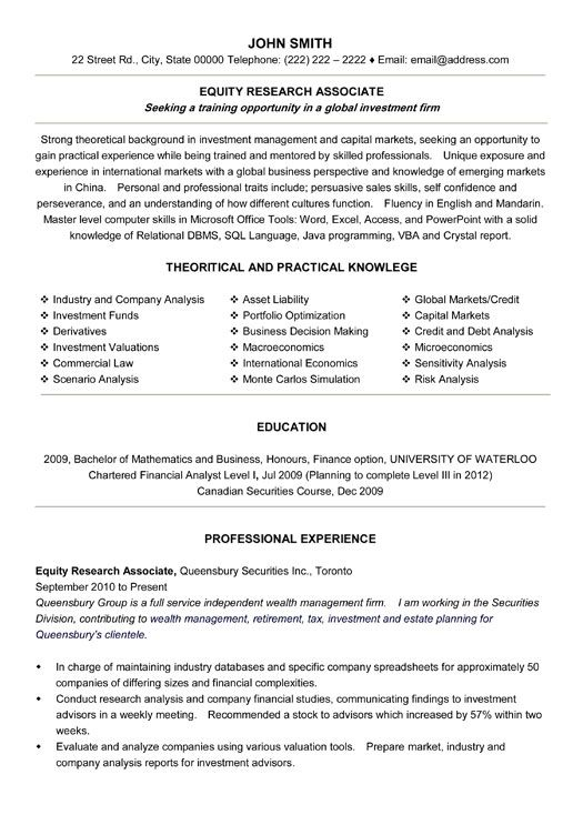 click here to this equity research associate resume template http resumetemplates101 Resume Professional Resume Help Toronto