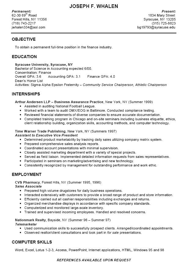 college intern resume samples professional templates student template sample for with Resume Sample Resume For College Student With Little Experience
