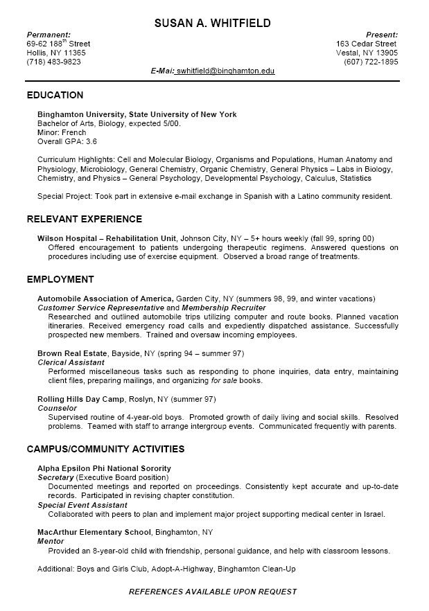 college resume format for high school students template student graduate examples dental Resume College Graduate Resume Examples