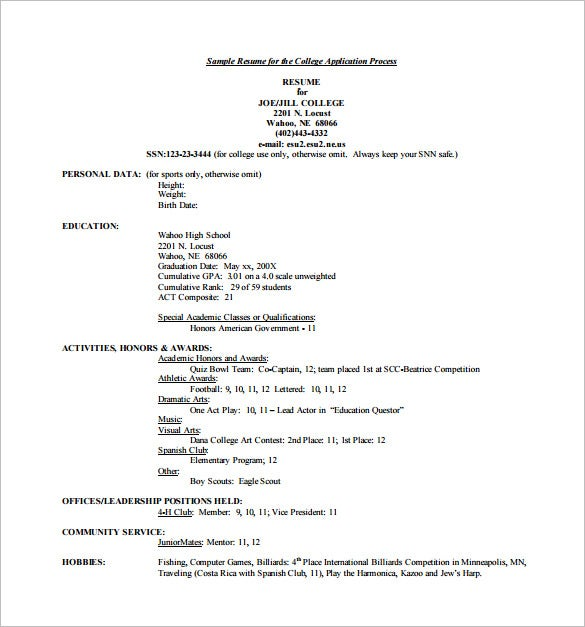 college resume templates pdf free premium application examples for high school Resume College Application Resume Examples For High School Seniors