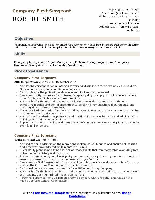 company first sergeant resume samples qwikresume civilian pdf examples owl free templates Resume First Sergeant Civilian Resume