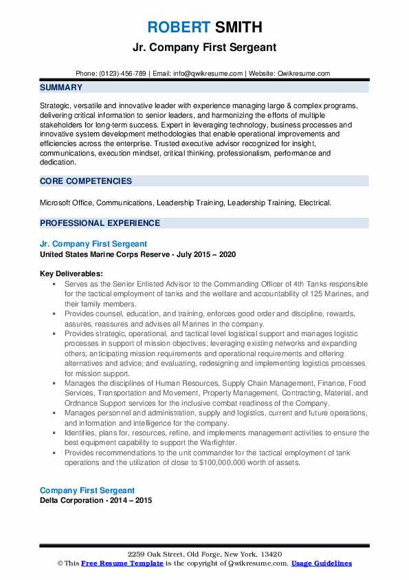 company first sergeant resume samples qwikresume civilian pdf personal security detail Resume First Sergeant Civilian Resume