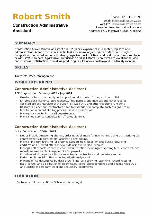 construction administrative assistant resume samples qwikresume skills and abilities for Resume Skills And Abilities For Administrative Assistant Resume