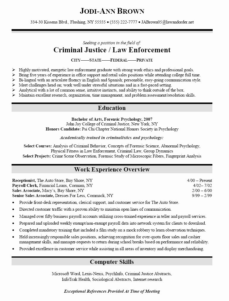 criminal justice resume examples luxury sample for law enfo in school application Resume Sample Resume For Recent College Graduate Criminal Justice