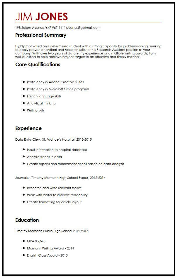 cv example for high school students myperfectcv resume examples with experience sample Resume Resume Examples For High School Students With Experience