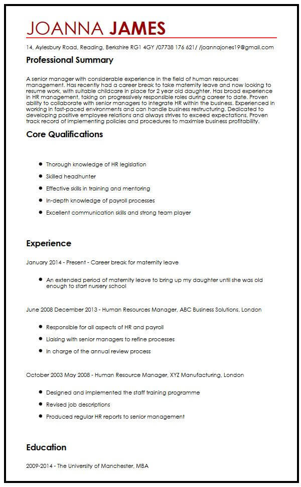 cv example with maternity leave myperfectcv good reasons for leaving job resume sample Resume Good Reasons For Leaving A Job For Resume