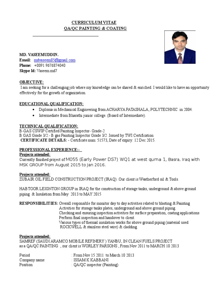 cv qaqc painting and coating quality assurance paint inspector resume google functional Resume Coating Inspector Resume