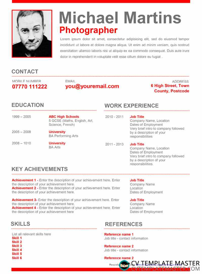cv template graphical in red downloads achievement based resume cv4 marketing writer Resume Achievement Based Resume Template