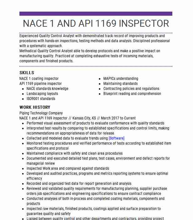 cwi nace api inspector resume example inspection resources inc west coating factory Resume Coating Inspector Resume