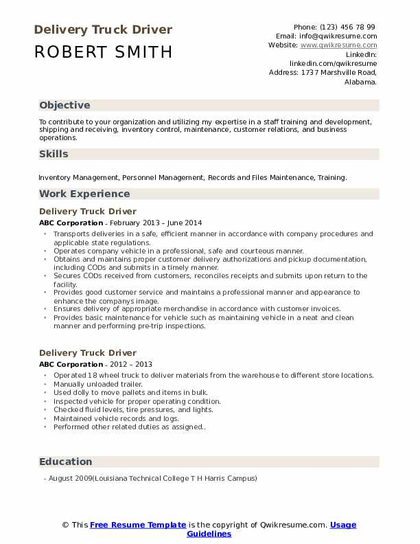 delivery truck driver resume samples qwikresume free sample pdf professional layout Resume Free Sample Truck Driver Resume