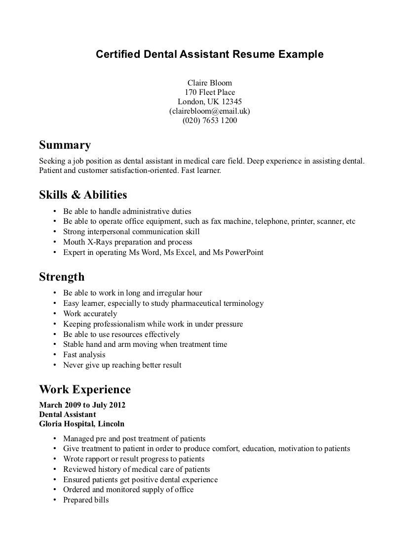 dental assistant resume sample ipasphoto objective samples example using the correct data Resume Dental Assistant Resume Objective Samples