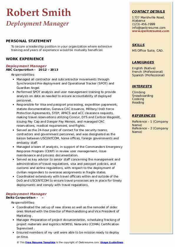 deployment manager resume samples qwikresume pdf good activities for surgeon example le Resume Deployment Manager Resume