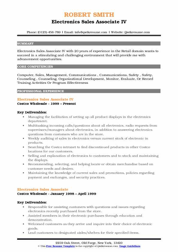 electronics associate resume samples qwikresume costco front end assistant pdf examples Resume Costco Front End Assistant Resume