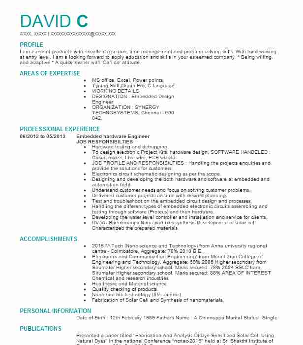 embedded hardware engineer resume example livecareer samples for electronics and Resume Resume Samples For Electronics And Communication Engineers