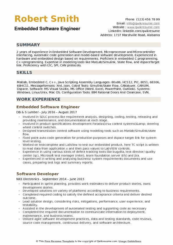 embedded software engineer resume samples qwikresume sample for with years experience Resume Sample Resume For Software Engineer With 1 Years Experience