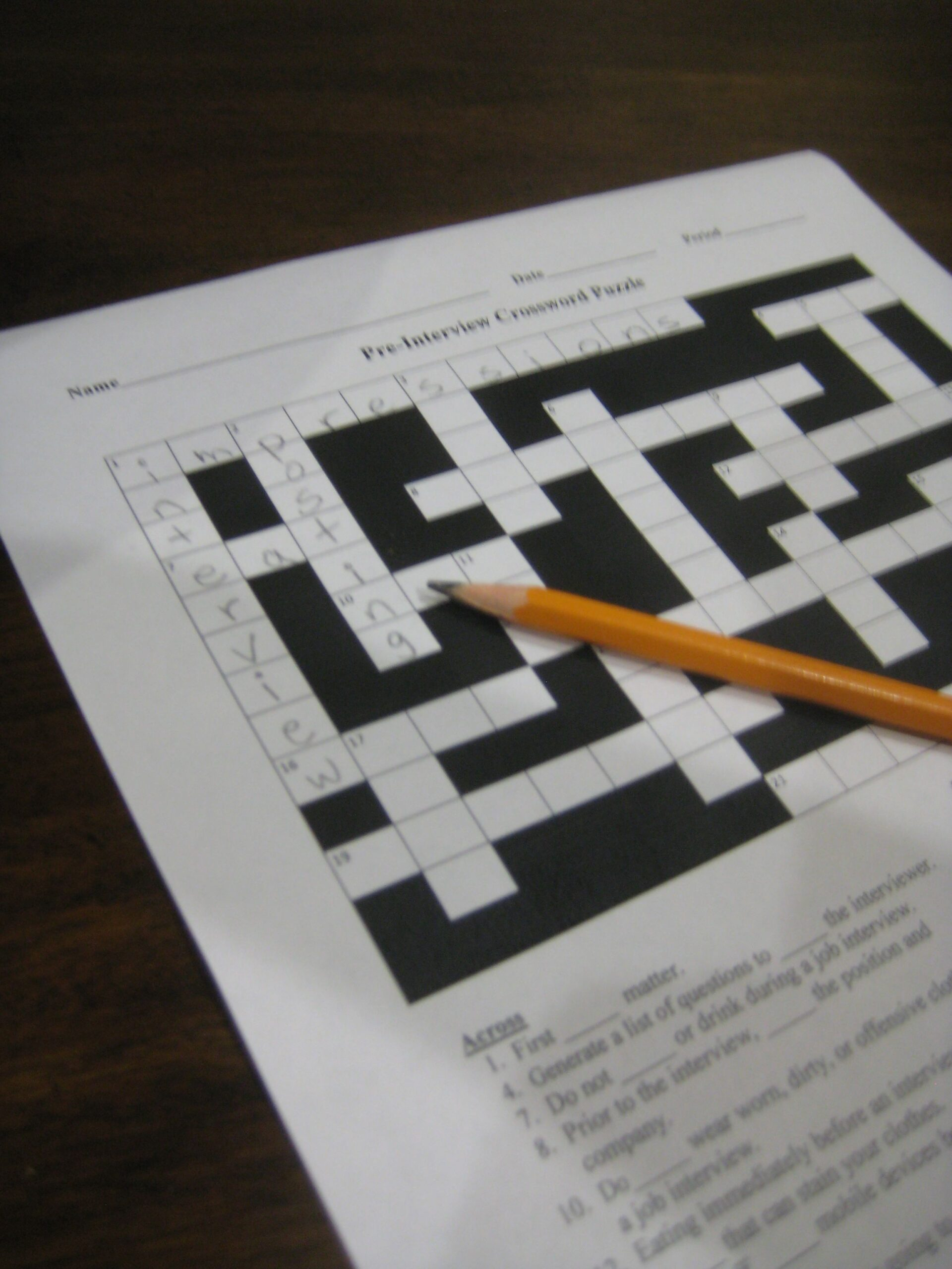 employment and career readiness job application crossword puzzle retro Resume Employment And Career Readiness Job Resume Crossword Puzzle