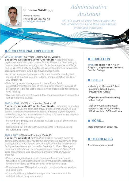 entry level administrative assistant resume template with photo microsoft word Resume Administrative Assistant Resume Template Microsoft Word Free