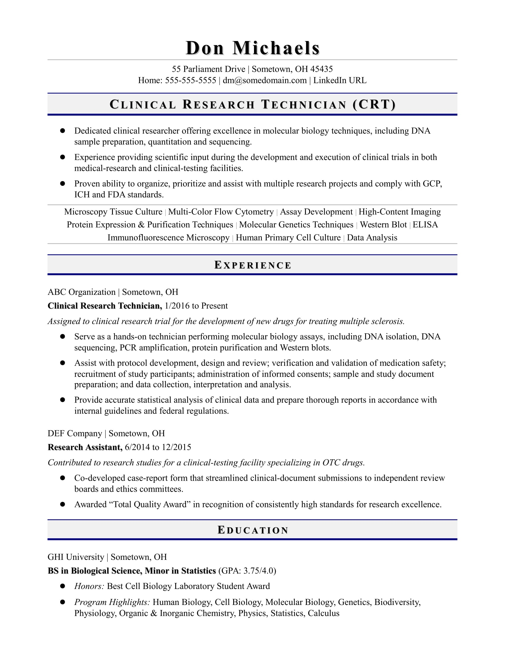 entry level research technician resume sample monster experience dcs proper reference Resume Research Experience Resume