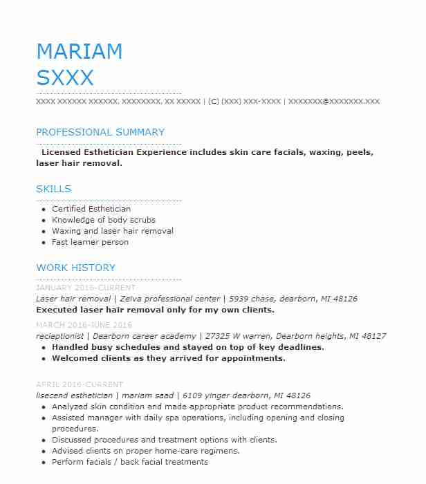 esthetician laser hair removal resume example north skin care keller summary for forklift Resume Laser Hair Removal Resume