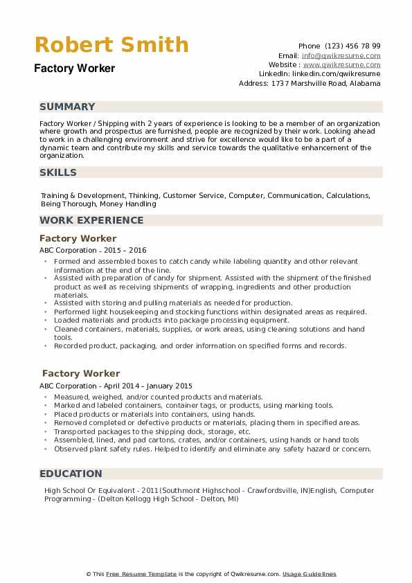 factory worker resume samples qwikresume examples pdf infographic template microsoft word Resume Factory Worker Resume Examples
