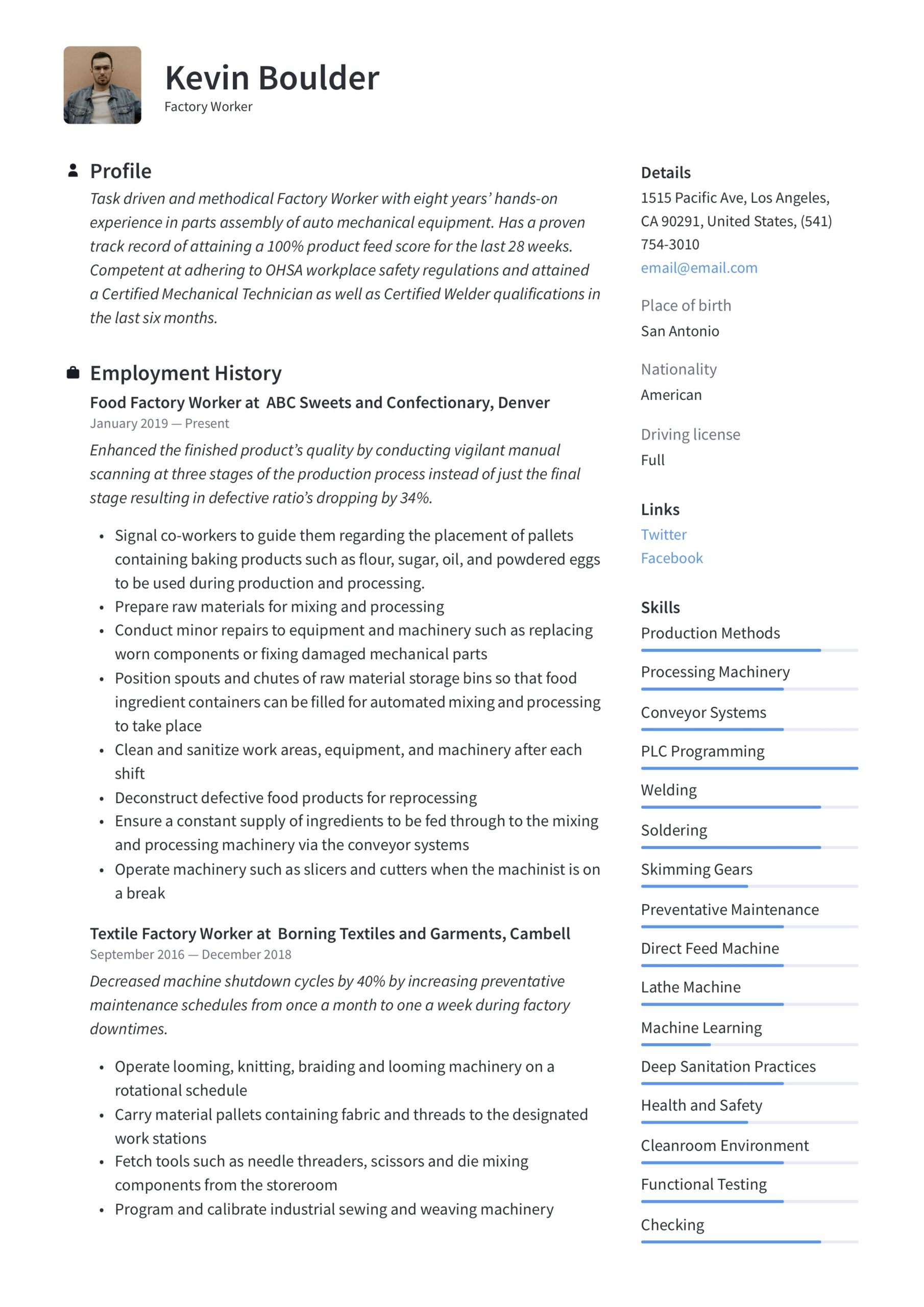 factory worker resume writing guide examples good first student for internship creating Resume Factory Worker Resume Examples