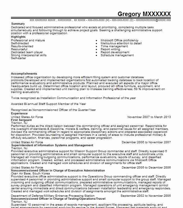 first sergeant resume example air force vail civilian senior sharepoint developer Resume First Sergeant Civilian Resume