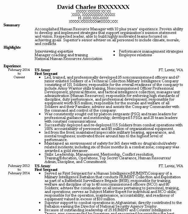 first sergeant resume example army carthage new civilian dreamweaver hotel room attendant Resume First Sergeant Civilian Resume