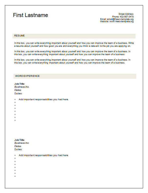 free blank cv resume templates for get empty template page1 hvac job description Resume Free Empty Resume Templates