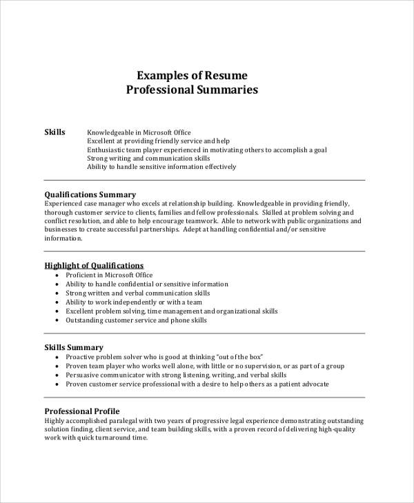 free resume summary samples in pdf ms word skills examples professional example outline Resume Resume Skills Summary Examples