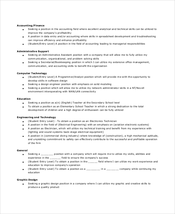 free sample general resume objective templates in pdf ms word examples of objectives Resume Examples Of Resume Objectives Entry Level