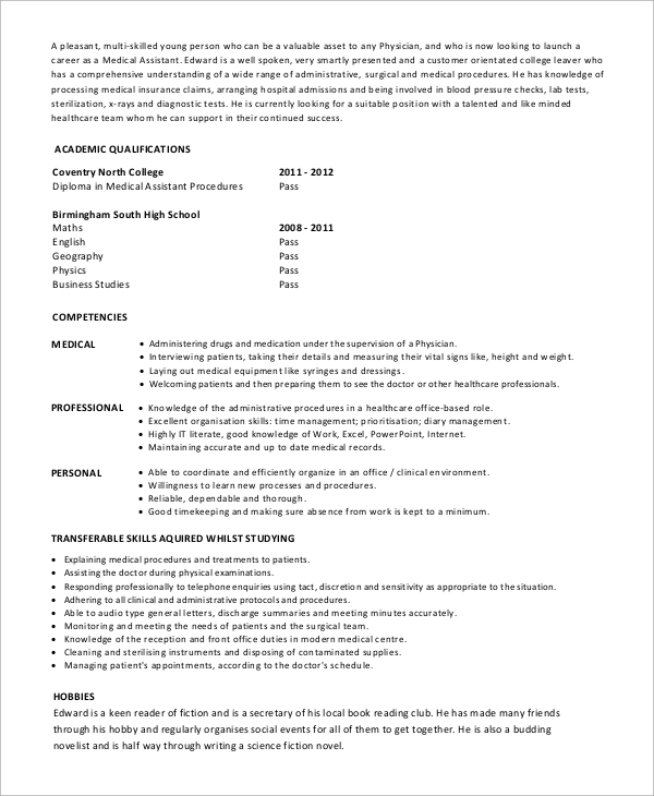 free sample medical assistant resume templates in pdf ms word health care entry level Resume Health Care Assistant Resume Sample