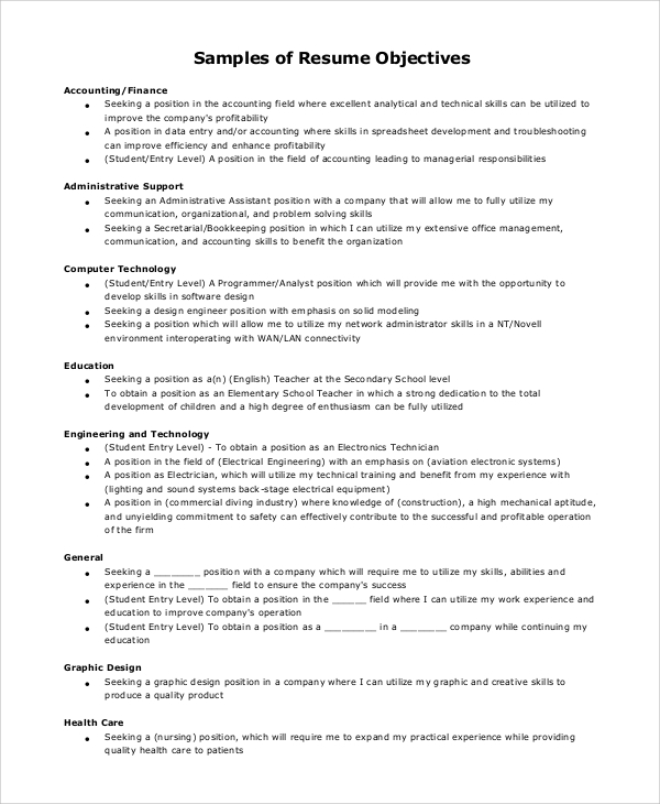 free sample resume objective templates in pdf ms word examples of objectives entry level Resume Examples Of Resume Objectives Entry Level